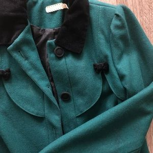 A-line winter coat with velvet details